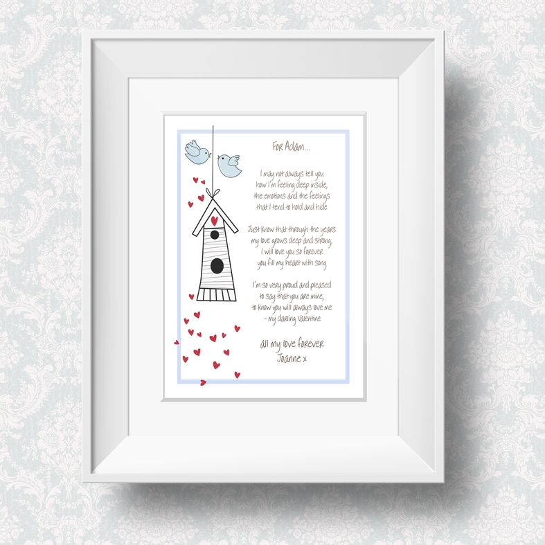 Love Birds romantic personalised love poem print | Valentine gift | PhotoFairytales