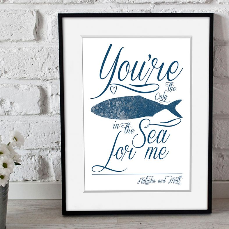 Only Fish in the Sea for me | personalised love print | romantic anniversary Valentine gift | PhotoFairytales