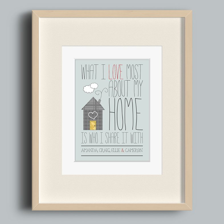 What I love most about my home | personalised print wall art | personalised romantic gift anniversary Valentine | PhotoFairytales
