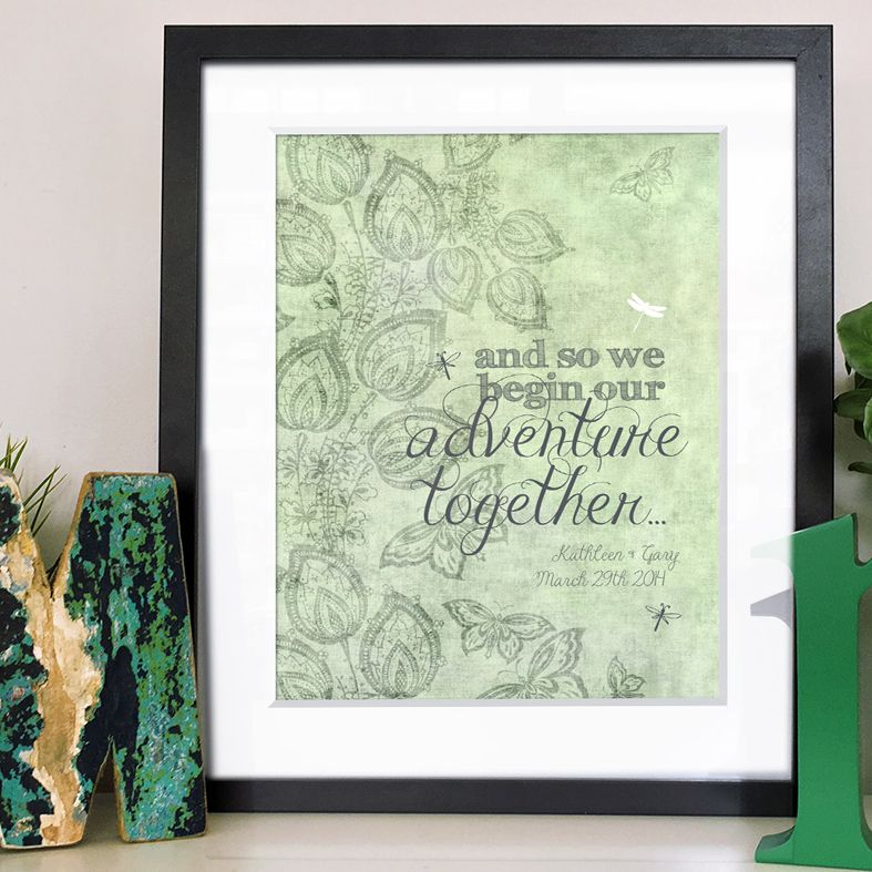 We Begin our Adventure Together personalised wedding print gift | PhotoFairytales