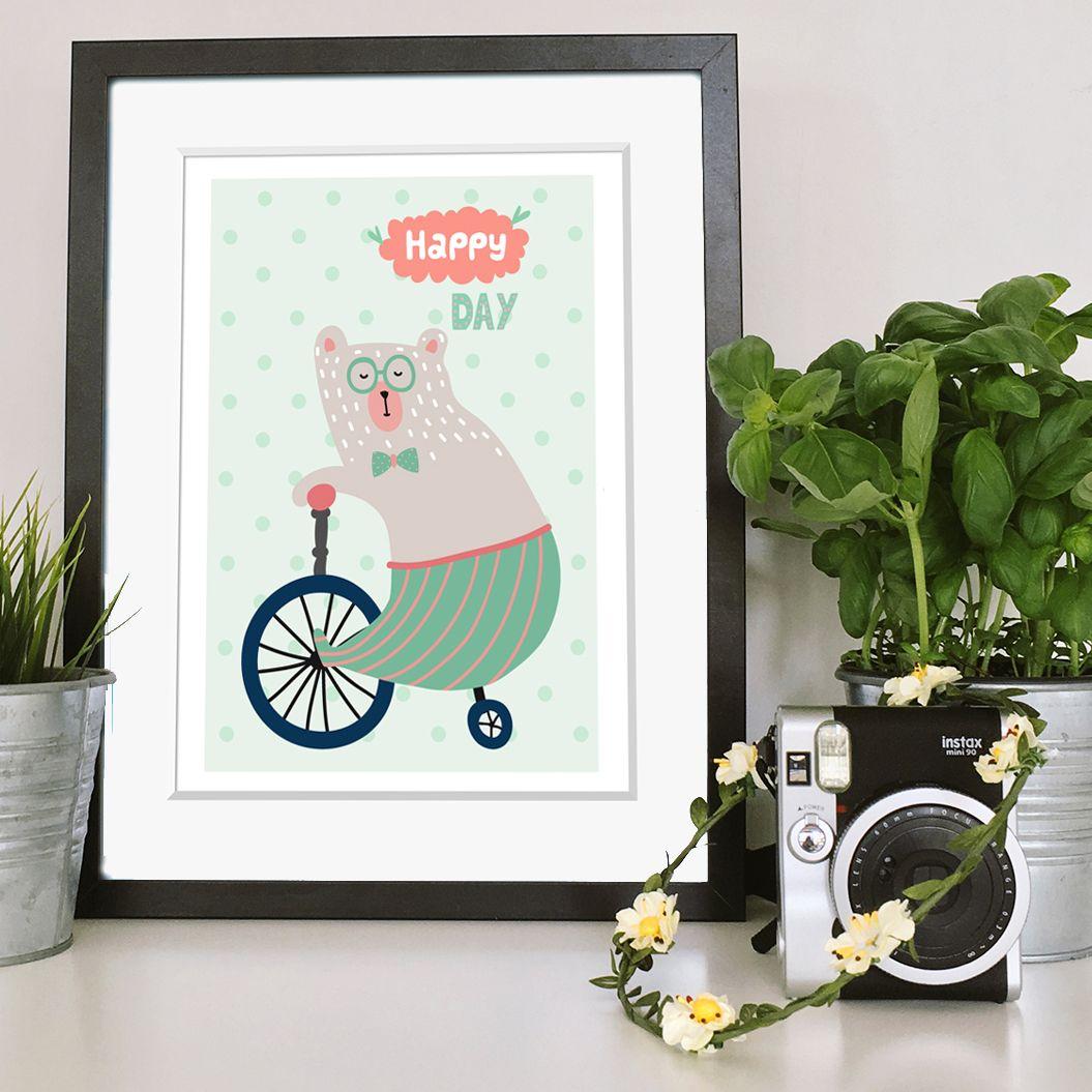 Happy Day bear print | nursery art | PhotoFairytales