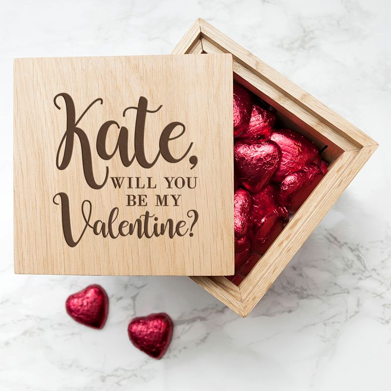 Personalised Real Oak Photo Cubes, Be My Valentine | romantic gift for Valentine, anniversary or wedding. Handcrafted, engraved to order, available filled with chocolates!