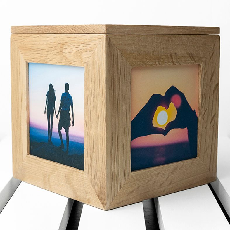 Engraved Oak Photo Cubes | keepsake wooden cubes to display your photos | personalised to order from PhotoFairytales