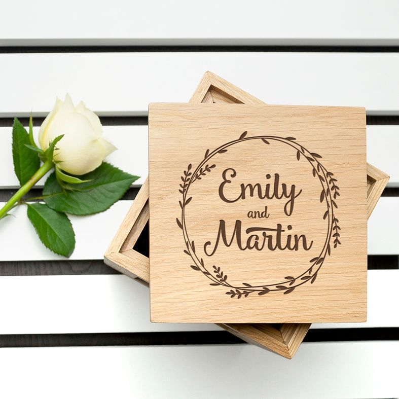 Personalised engraved oak photo cubes | wooden keepsake Valentine, anniversary or wedding gift from PhotoFairytales