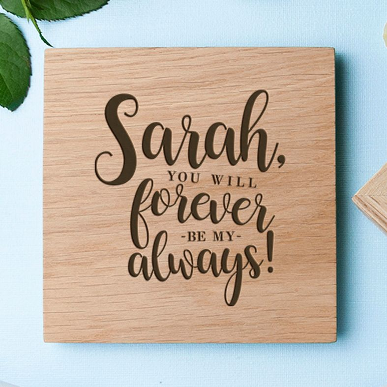 Personalised Real Oak Photo Cubes, Forever My Always | romantic gift for Valentine, anniversary or wedding. Handcrafted, engraved to order, available filled with chocolates!