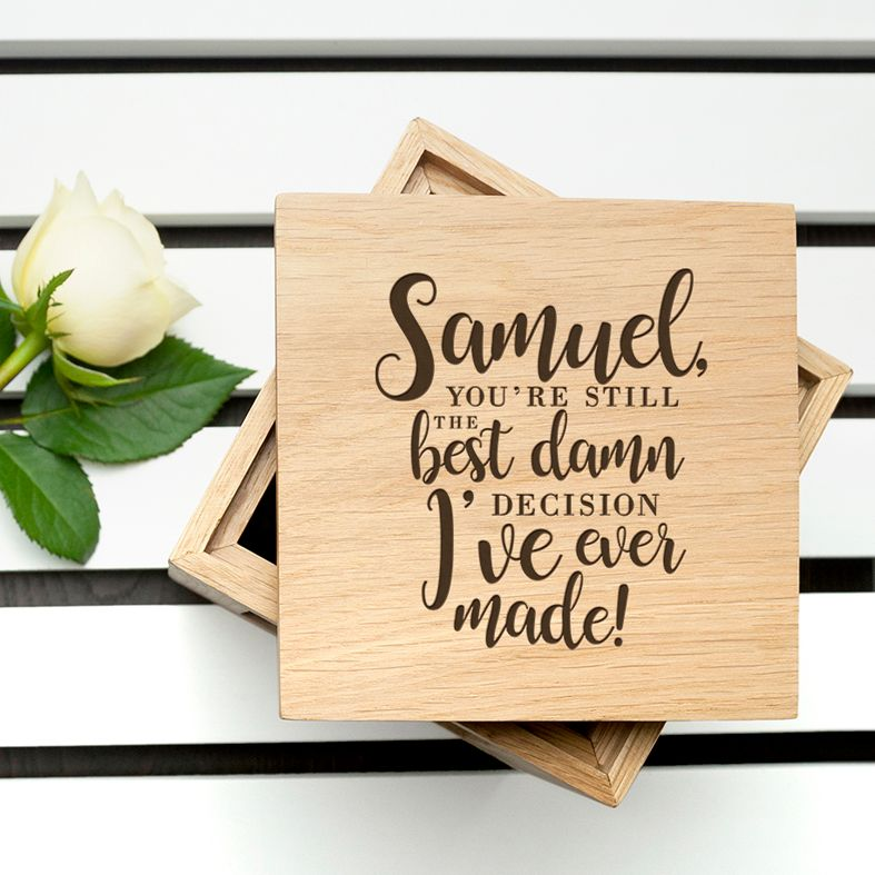 Personalised Oak Photo Cubes | personalised gift boxes | PhotoFairytales