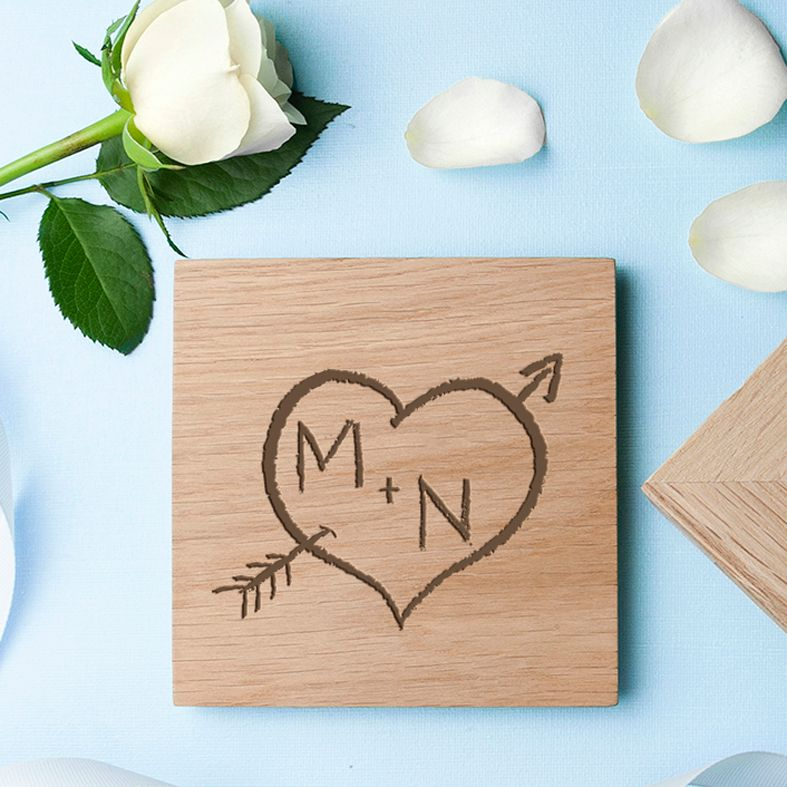 Engraved Oak Photo Cube Carved Heart | personalised keepsake wooden cubes to display your photos | from PhotoFairytales