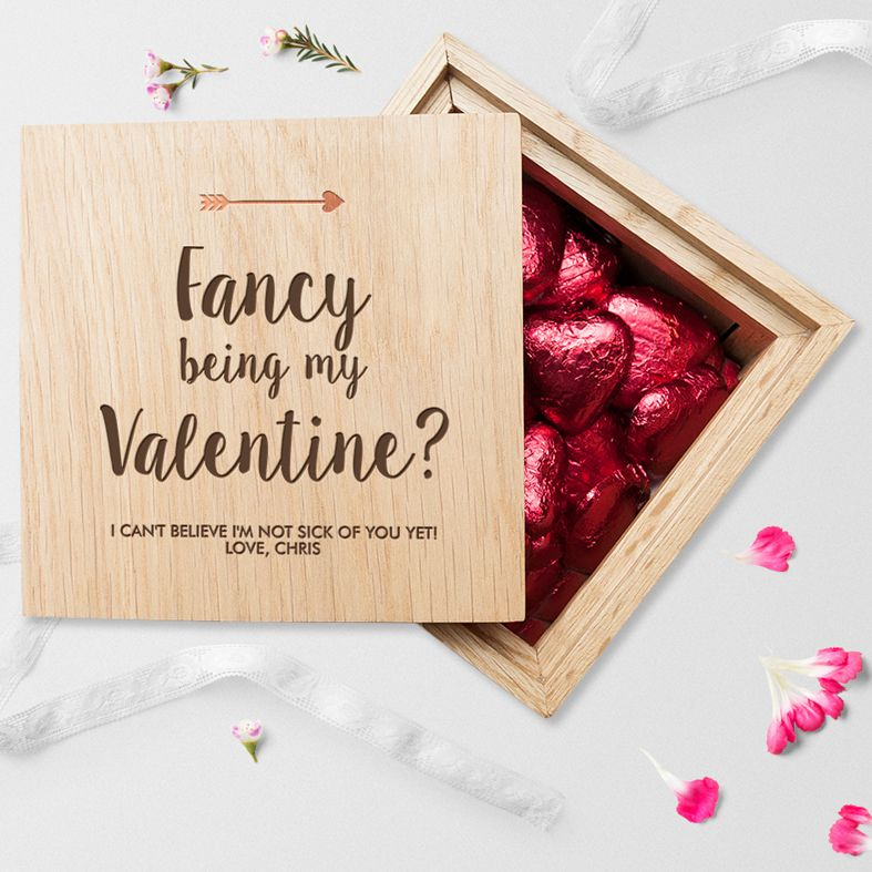 Personalised Real Oak Photo Cubes, Fancy Being My Valentine | romantic gift for Valentine, anniversary or wedding. Handcrafted, engraved to order, available with chocolates!