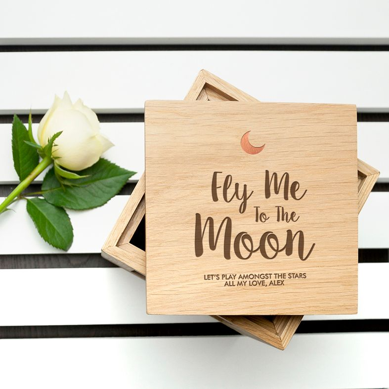 Personalised Real Oak Photo Cubes, Fly Me To The Moon | romantic gift for Valentine, anniversary or wedding. Handcrafted, engraved to order, available with chocolates!