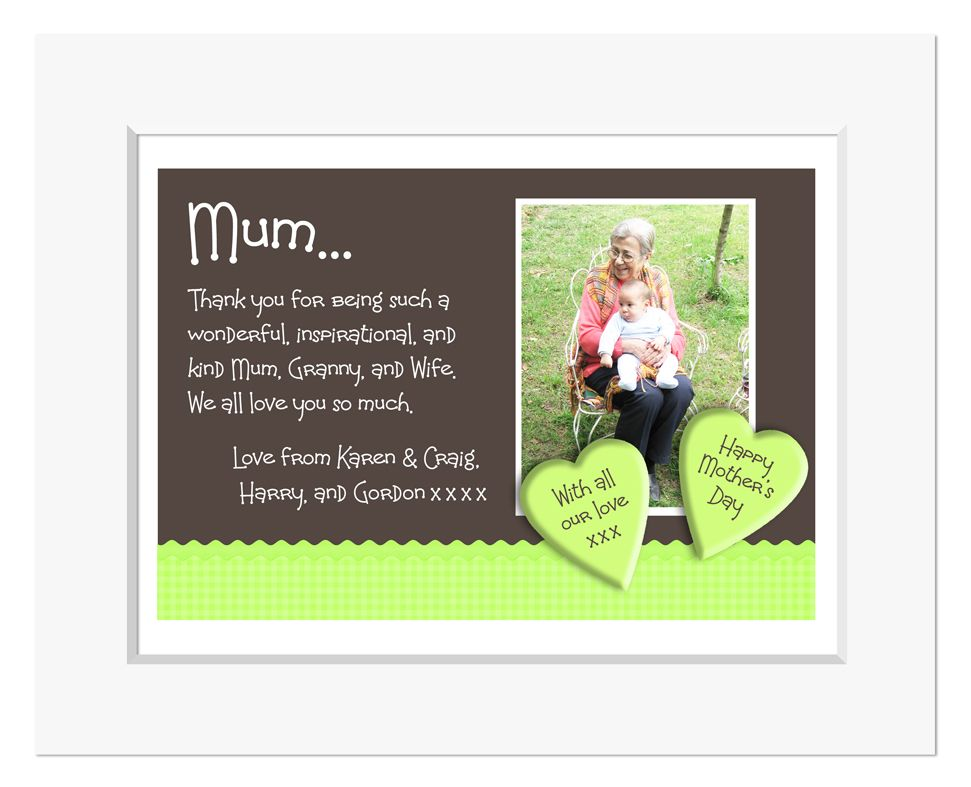 Gingham Apple Green personalised message photo print