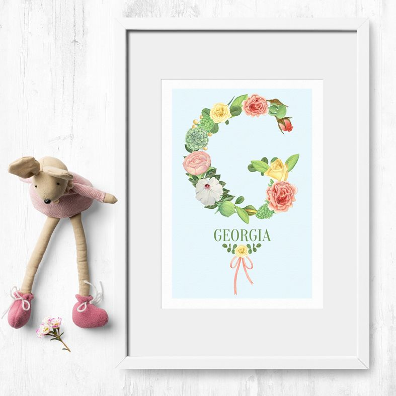 Floral Initial Alphabet Prints | personalised feminine watercolour wall art