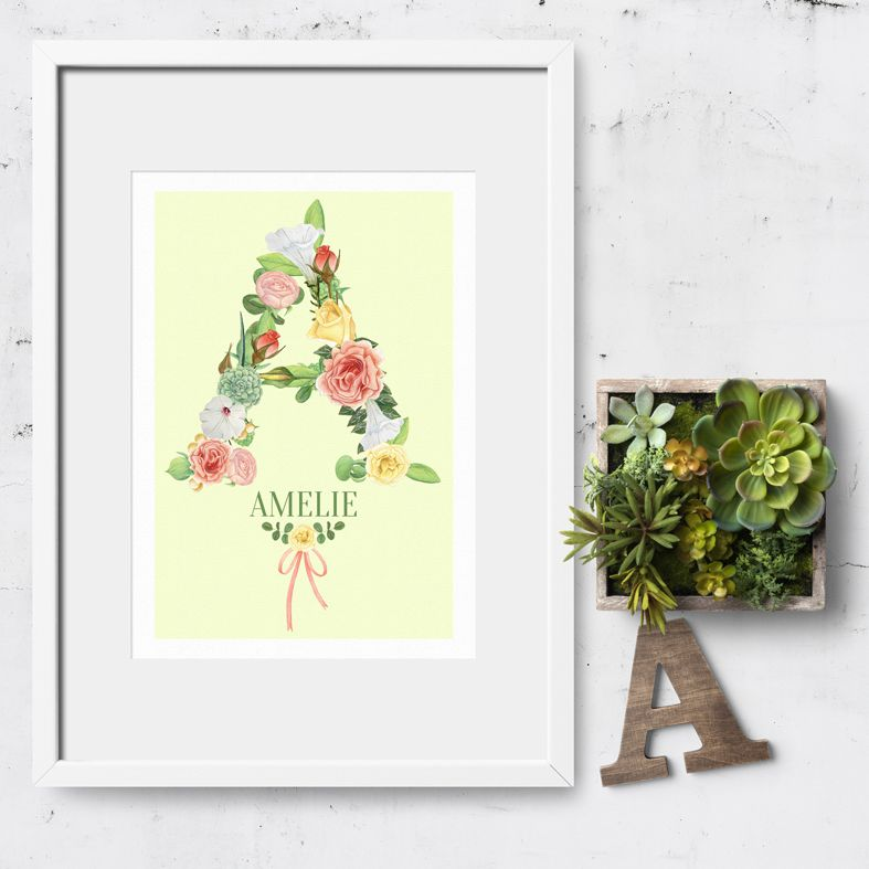Personalised Floral Initial print | personalised botanical bloom print | personalised nursery decor from PhotoFairytales