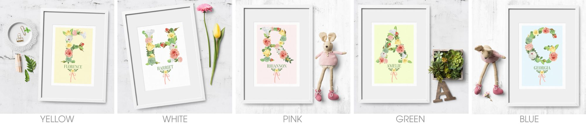 Personalised Floral Initial Alphabet Prints | feminine watercolour prints from PhotoFairytales