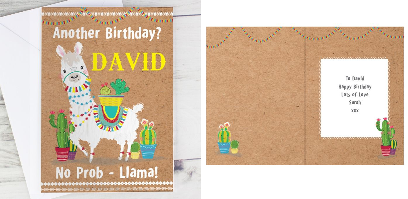 Llama personalised gift card | from PhotoFairytales