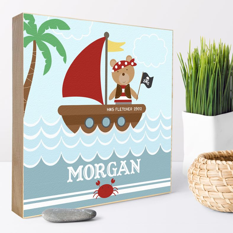 Pirate Bear nautical personalised gift | Personalised wooden picture blocks | freestanding handcrafted picture blocks | PhotoFairytales