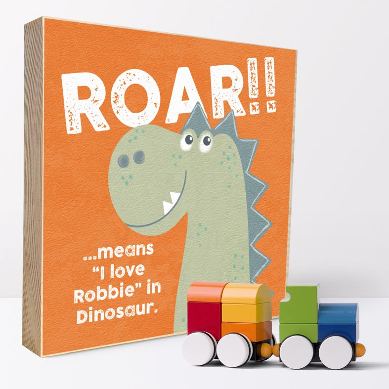 Dinosaur Roar | Personalised wooden picture blocks | freestanding handcrafted picture blocks | PhotoFairytales