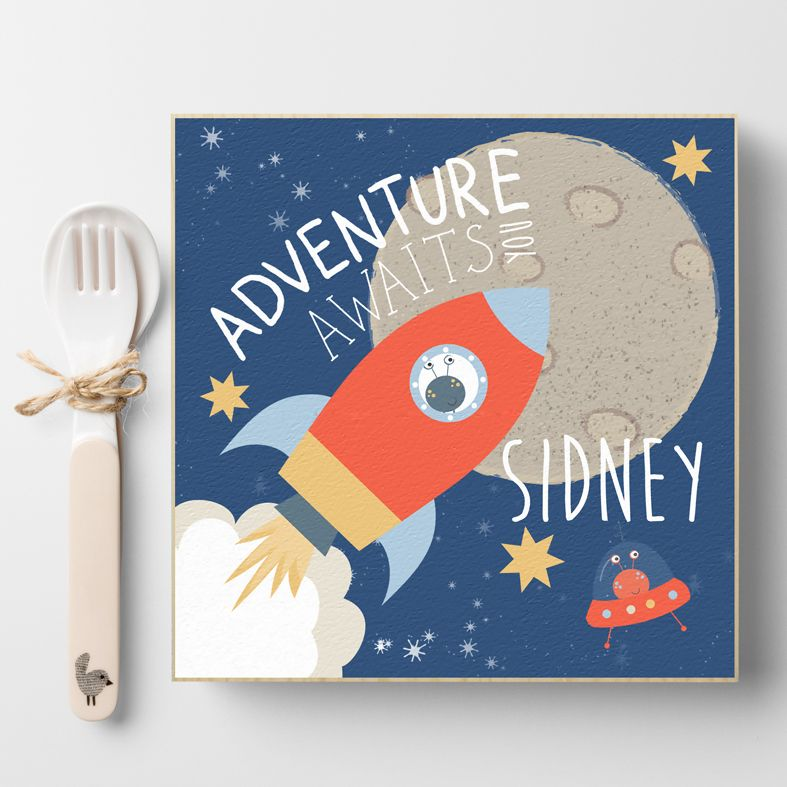 Retro Space Adventure | Personalised wooden picture blocks | freestanding handcrafted picture blocks | PhotoFairytales