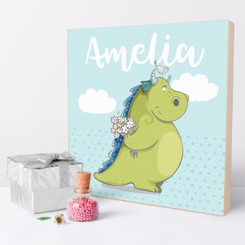 Handmade wooden picture block gift for baby | personalised nursery decor from PhotoFairytales