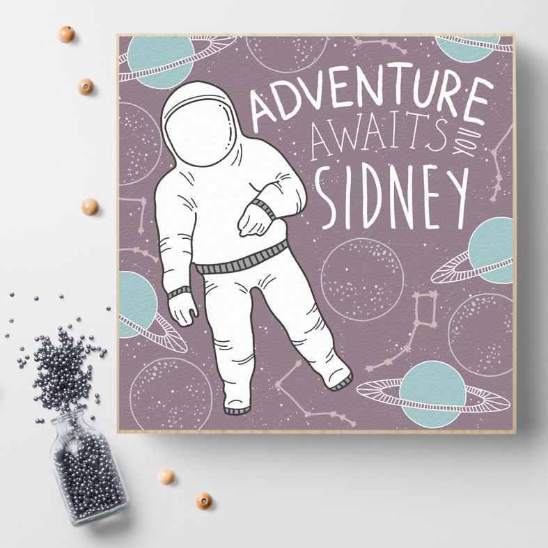 Space Adventure | Personalised wooden picture blocks | freestanding handcrafted picture blocks | PhotoFairytales