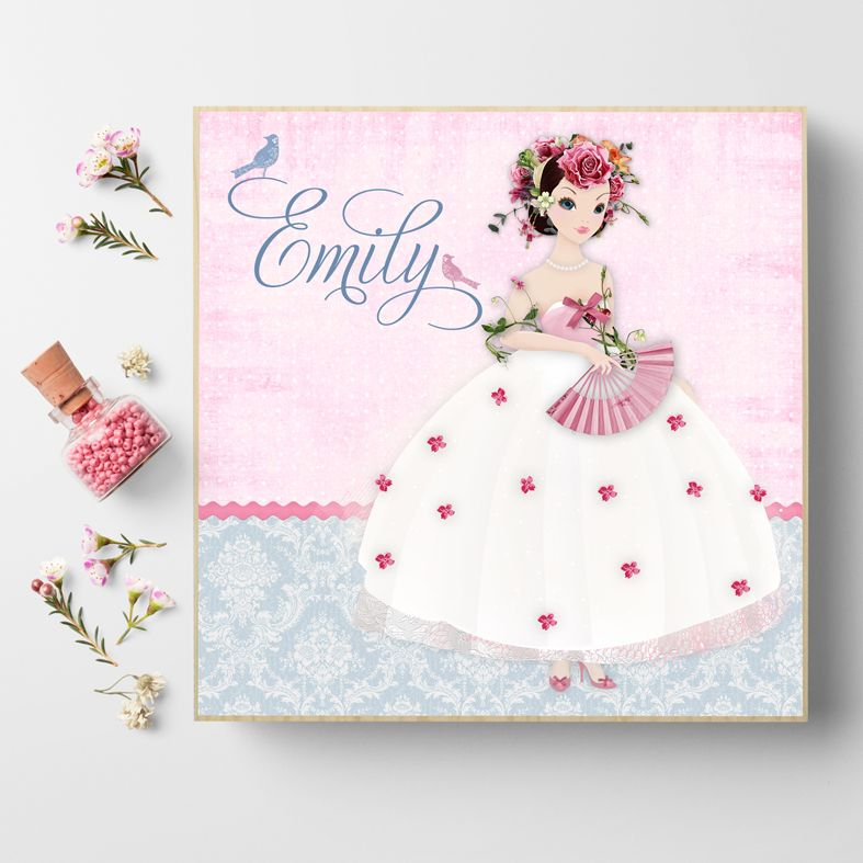 Personalised gift for little girl | Damask Belle | Personalised wooden picture blocks | freestanding handcrafted picture blocks | PhotoFairytales