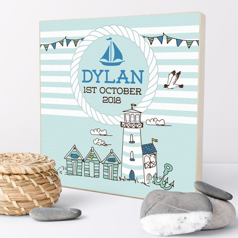 Personalised nautical gift | Personalised wooden picture blocks | freestanding handcrafted picture blocks | PhotoFairytales