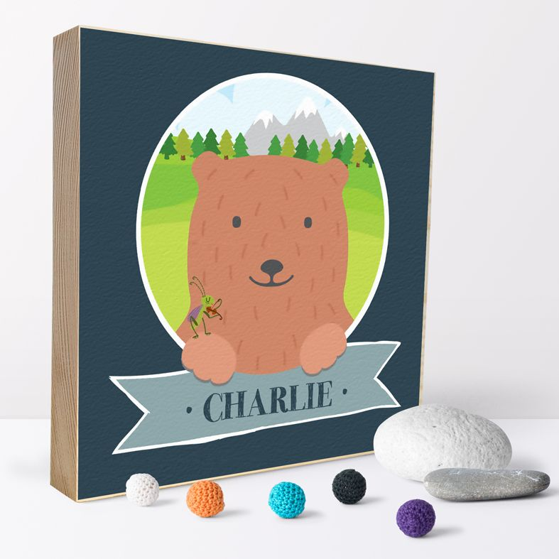 Mountain Bear | Personalised wooden picture blocks | freestanding handcrafted picture blocks | PhotoFairytales