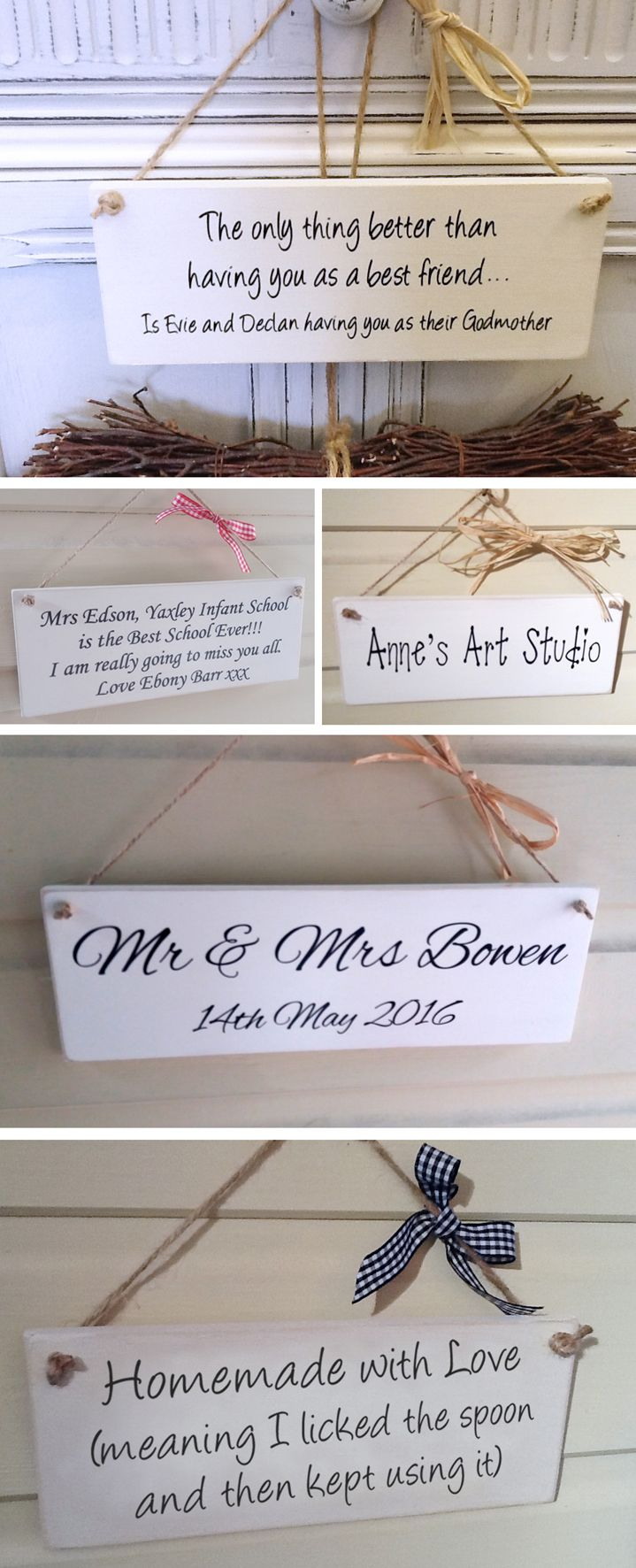 Personalised bespoke wooden plaques
