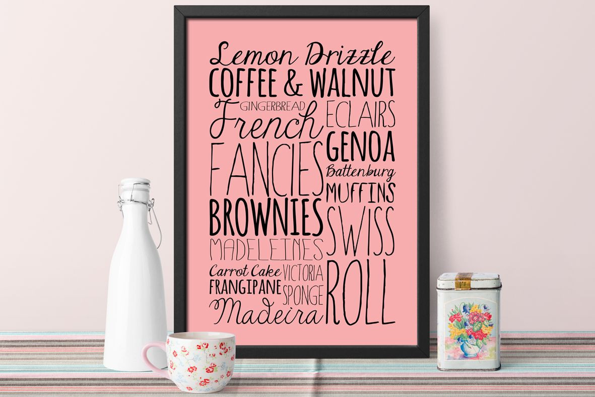 Cake personalised art print gift for cook baker | bespoke kitchen word art print | typography | PhotoFairytales