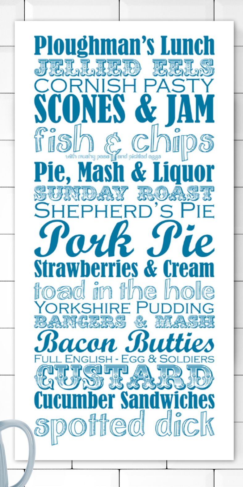Great British Dishes bespoke canvas wall art | kitchen print | gift for cook | PhotoFairytales