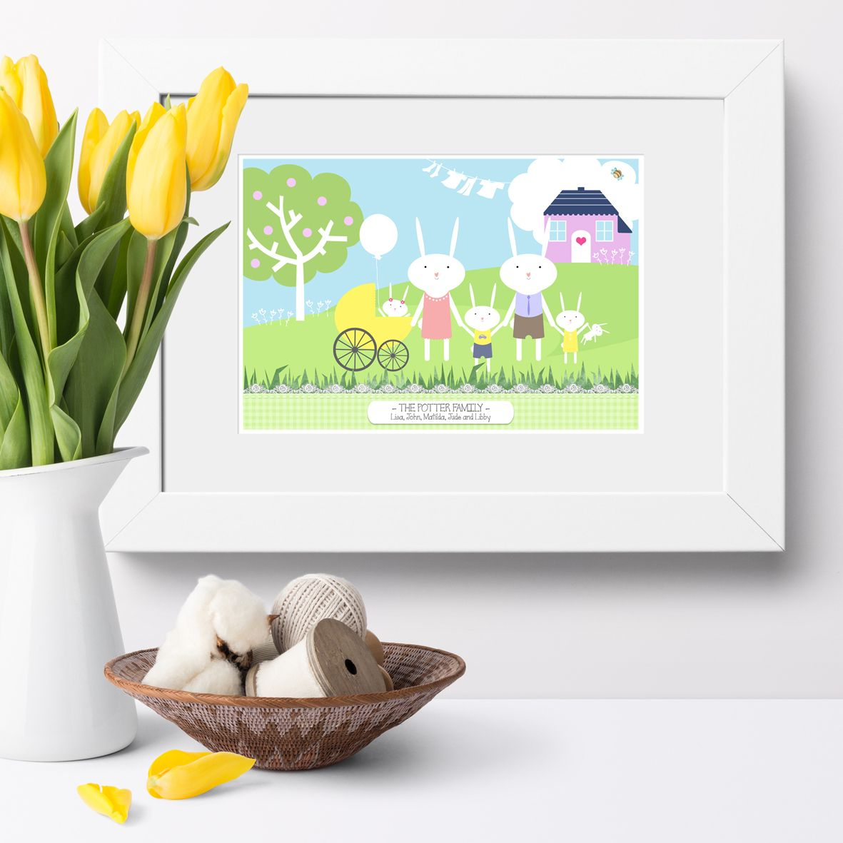 Personalised Bunny Rabbit Family Print | Bespoke wall art to celebrate your family - custom designed and featuring all your names. Delightful personalised family gift from PhotoFairytales #familygift #rabbit #bunny #familyprint #personalisedfamilygift