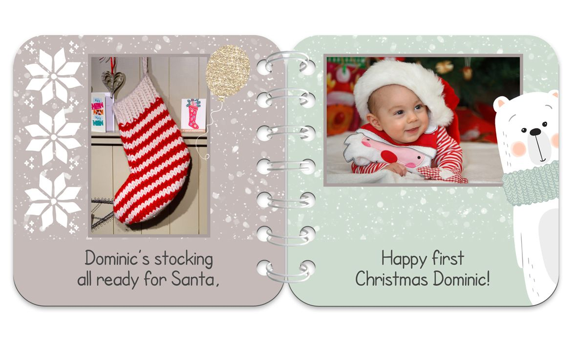 Festive Bear Personalised Baby Board Book | handmade board books, made to order, range of designs available, by PhotoFairytales.