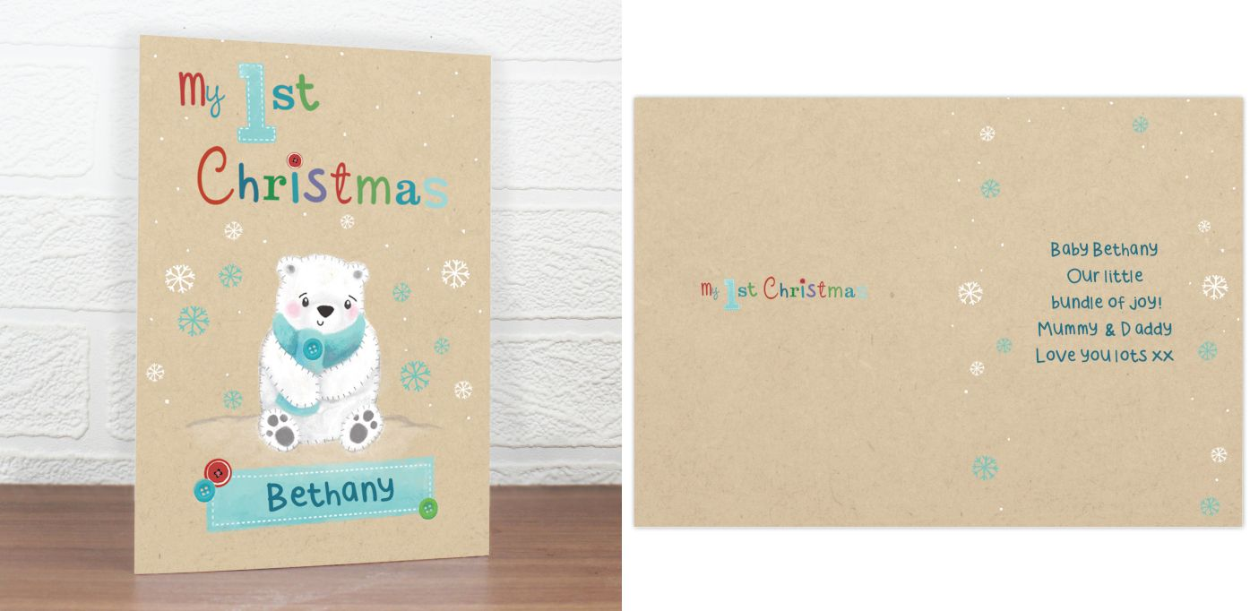 Polar Bear personalised Christmas greeting card | Baby's 1st Christmas | from PhotoFairytales