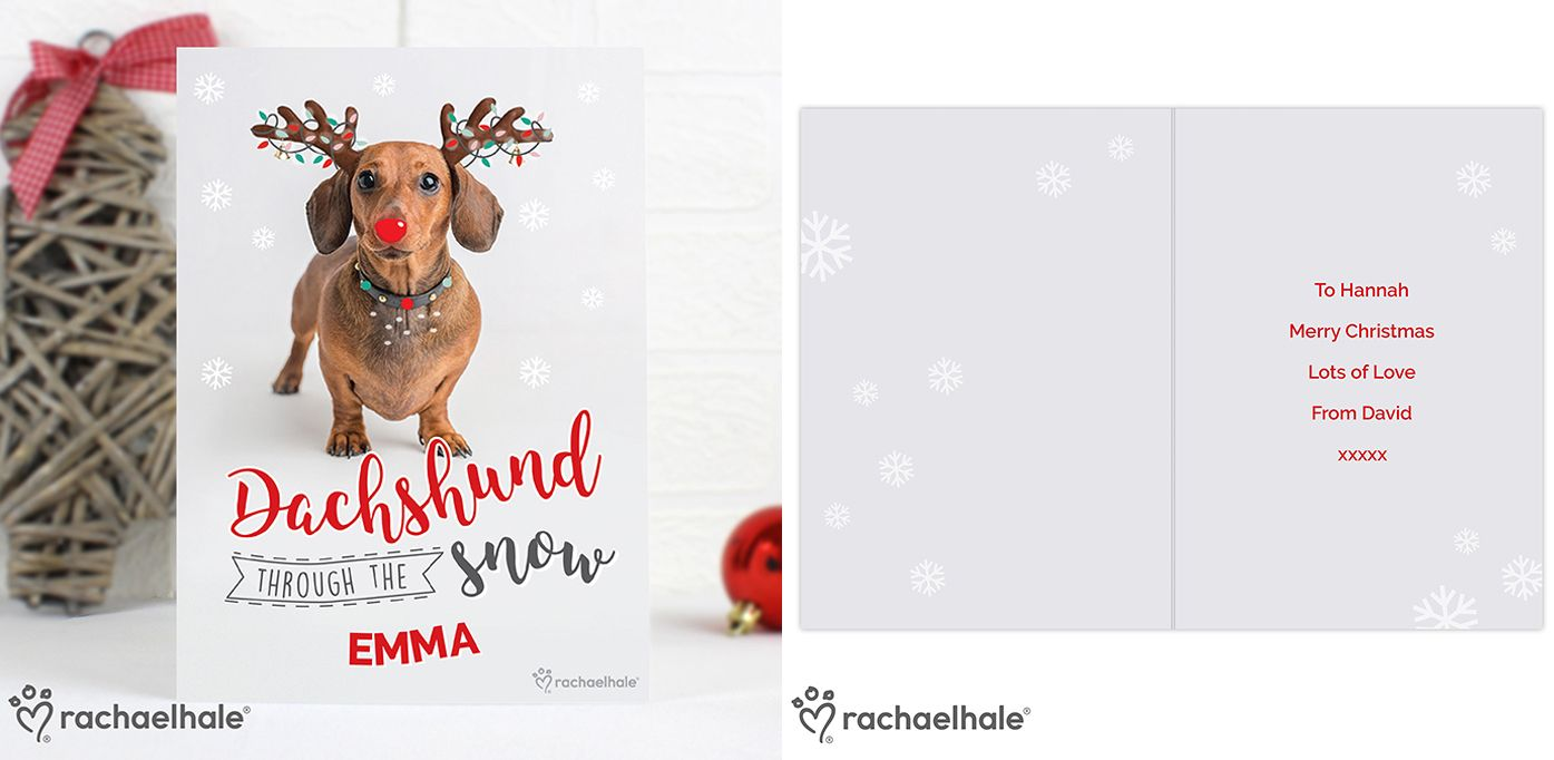 Personalised Rachael Hale Christmas Dachshund Through the Snow Card | personalised Christmas greeting card | from PhotoFairytales