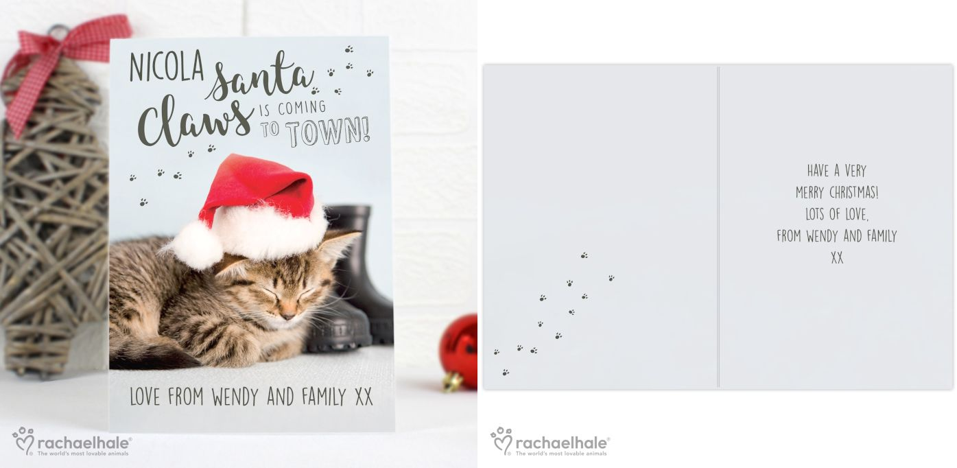 Personalised Rachael Hale Santa Claws Christmas Cat Card | personalised Christmas greeting card | from PhotoFairytales