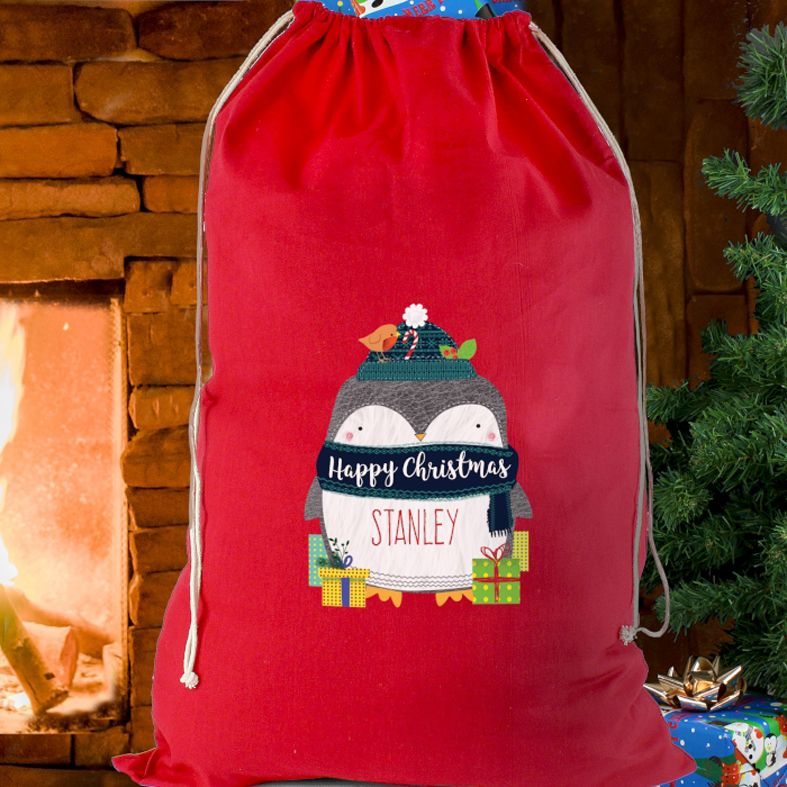Personalised Christmas Sack Polar Penguin design | from PhotoFairytales