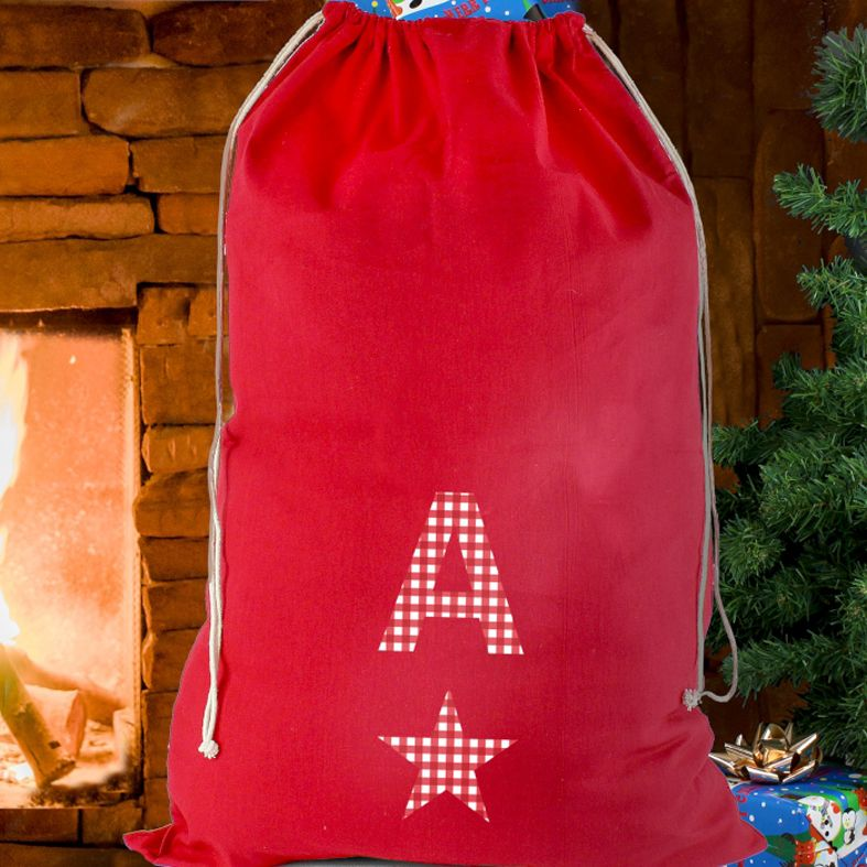 Personalised Christmas Sack Gingham Initial Star from PhotoFairytales