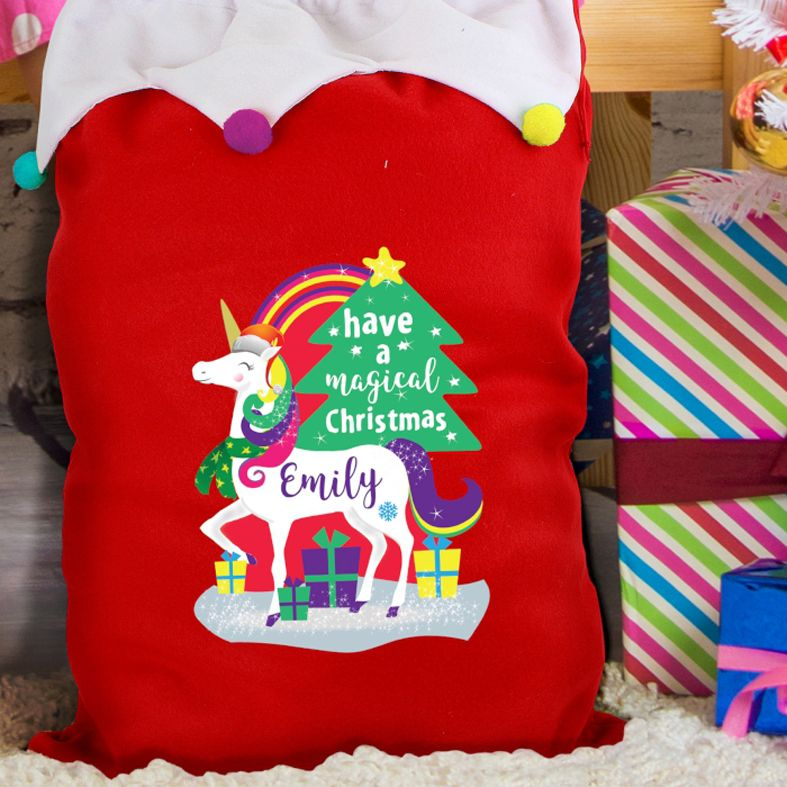Personalised Christmas Sack Unicorn Pom Pom design