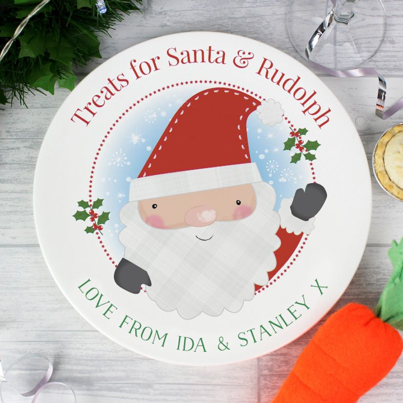 Leave a tasty snack for Santa & Rudolph on Christmas Eve! Gorgeous personalised Christmas plate, ideal for leaving out a mince pie and carrot! Free UK P&P.
