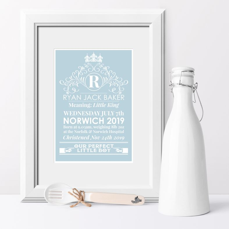 Personalised Heritage nursery print | bespoke baby christening gifts from PhotoFairytales