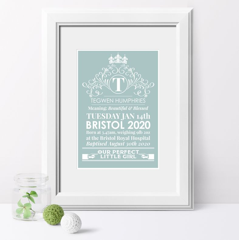 Heritage personalised birth statistics name christening gift | PhotoFairytales