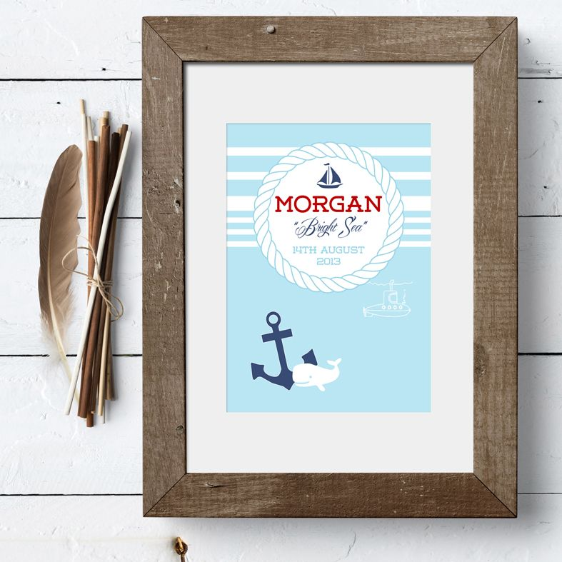 Nautical personalised name meaning print christening baby gift