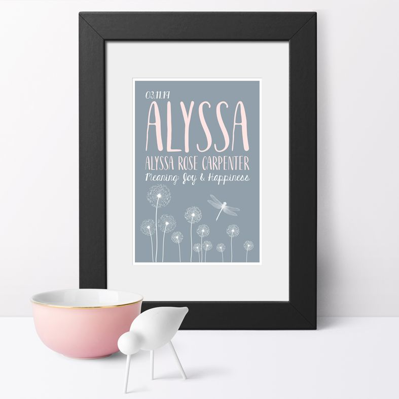 Personalised Dandelion nursery print | bespoke baby christening gifts from PhotoFairytales