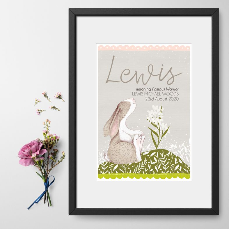 Little Hare personalised baby birth print | christening gift | customised nursery art from PhotoFairytales