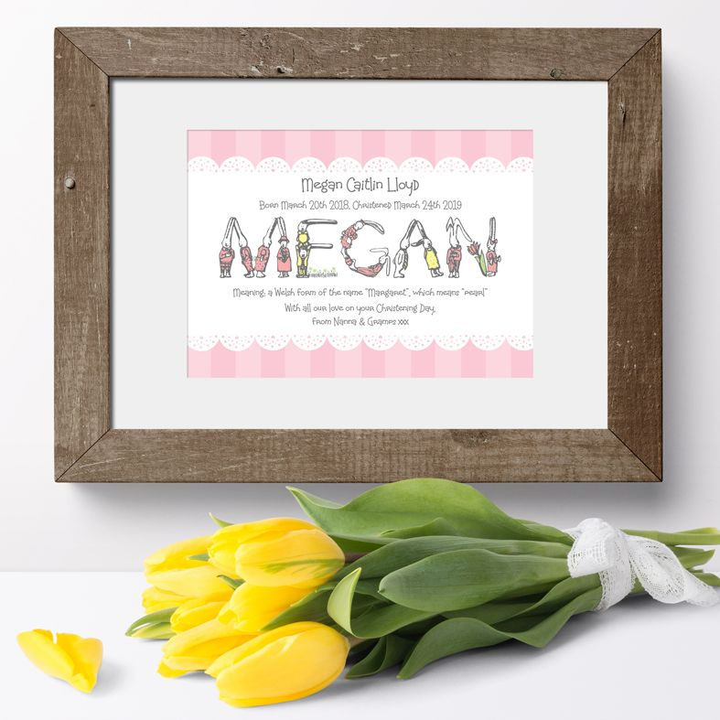 Bunny personalised new baby gift name print