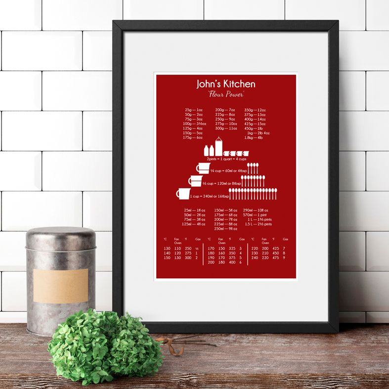 Personalised Cook's Conversion Chart Temperature Chart Baking Gift | Kitchen Print practical personalised gift for cook, baker, food lover, PhotoFairytales