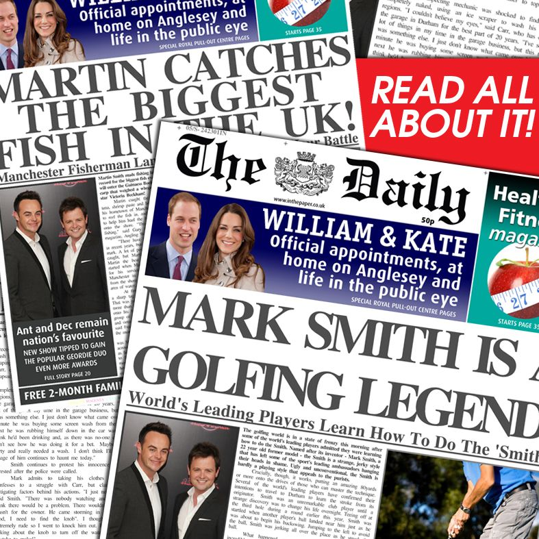 Personalised spoof newspapers unusual gift