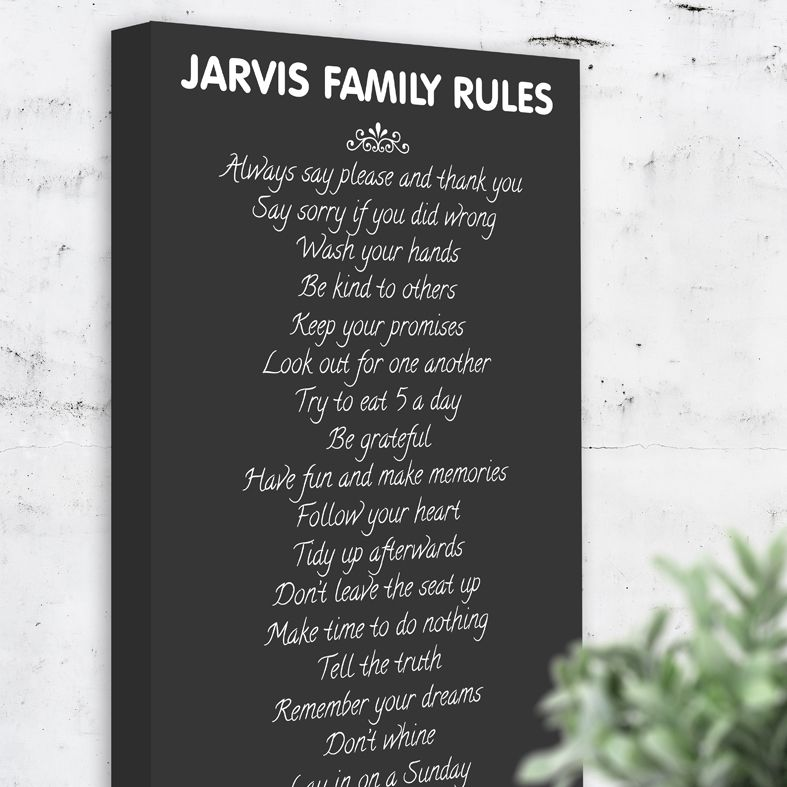 Personalised family rules canvas print | PhotoFairytales