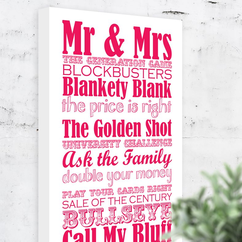 Great British bespoke canvas print wedding gift