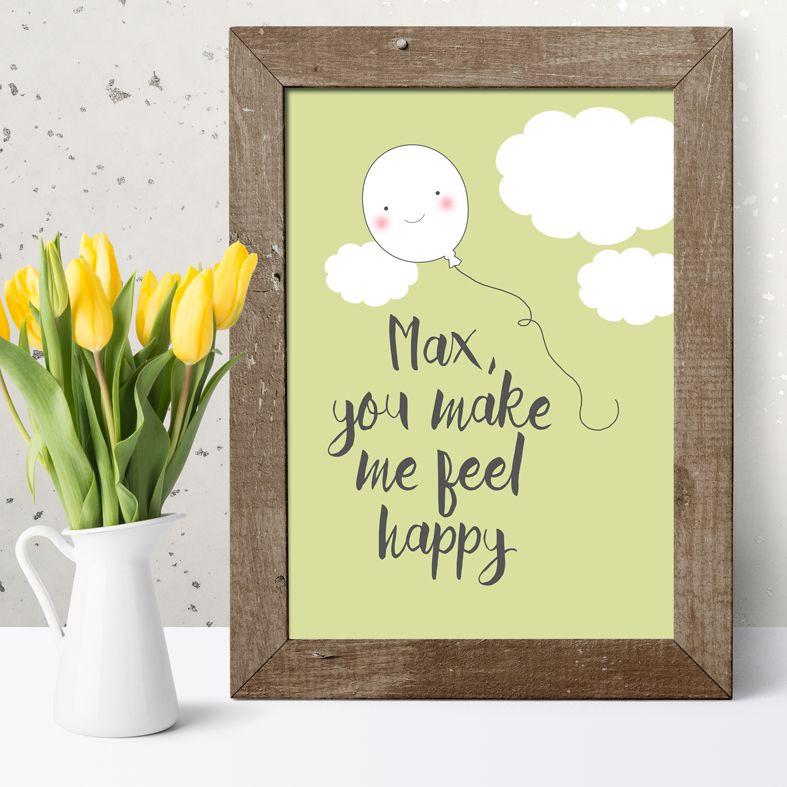 Personalised smiler poster print romantic gift
