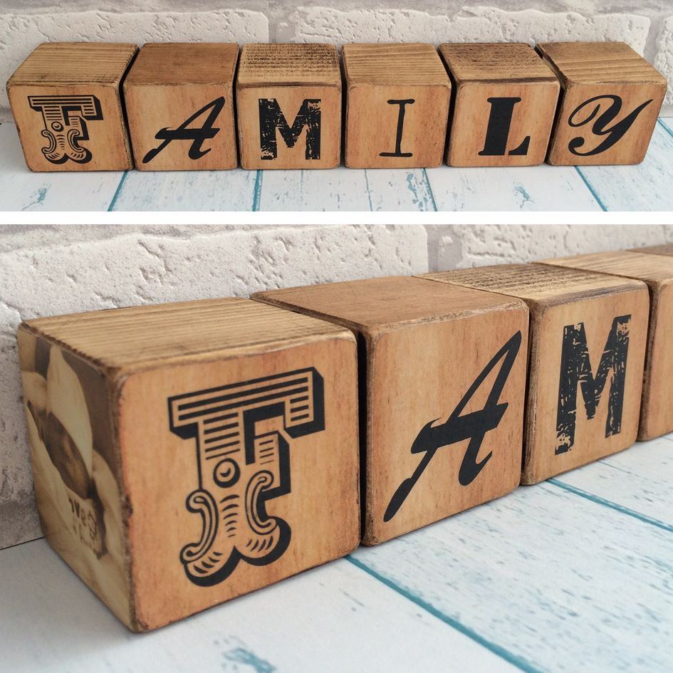 personalised wooden photo blocks handmade gift